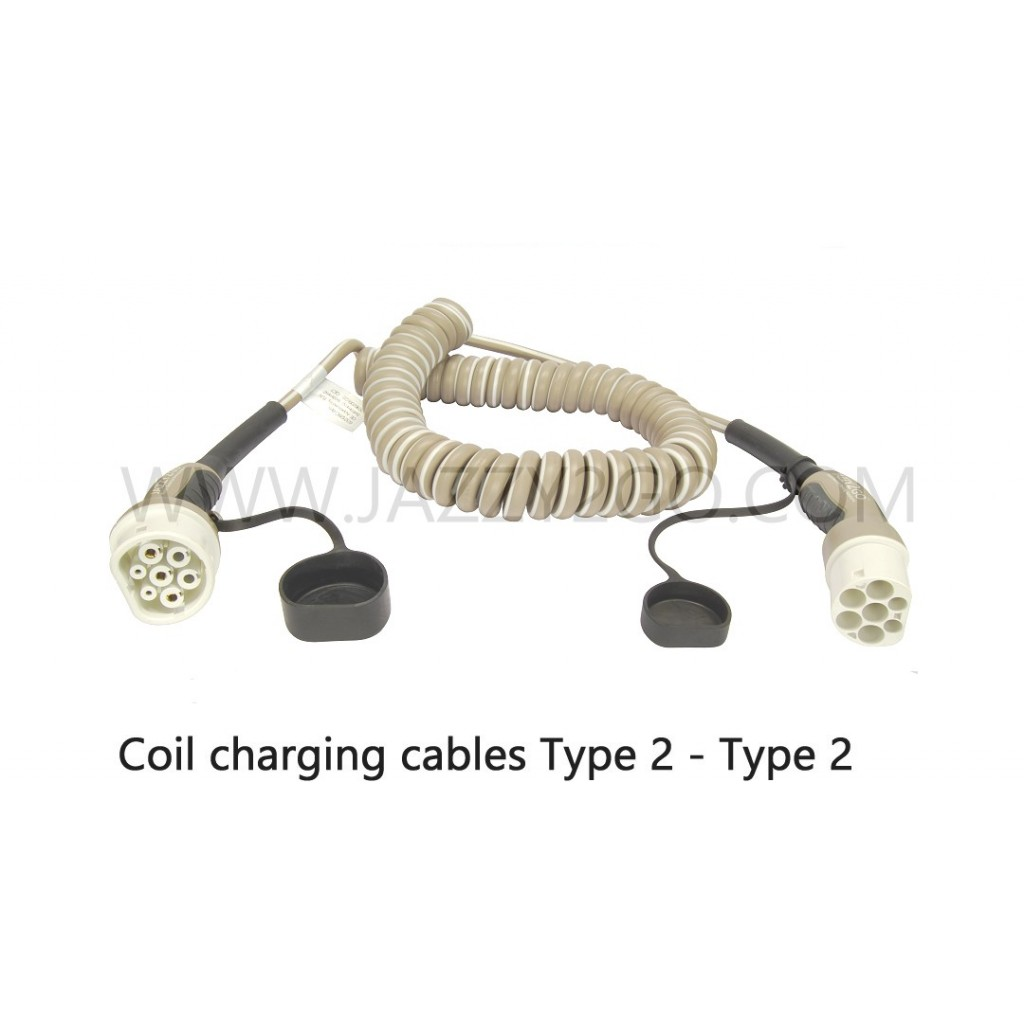 Coil Charging Cable 3 Phase - 32A  Car plug Type 2 / Charging station plug Type 2 mode 3