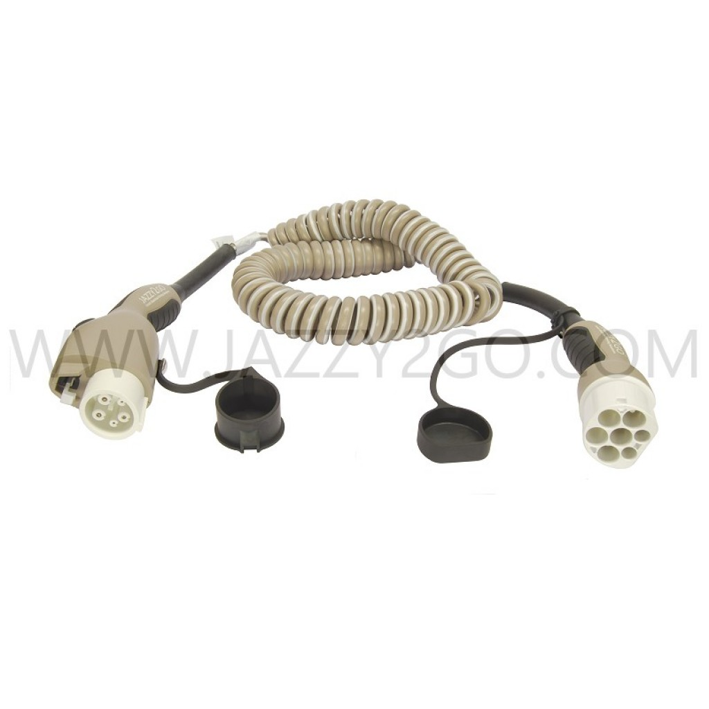 Coil Charging Cable 1 Phase - 16A Car plug Type 1 / Charging station plug Type 2 mode 3