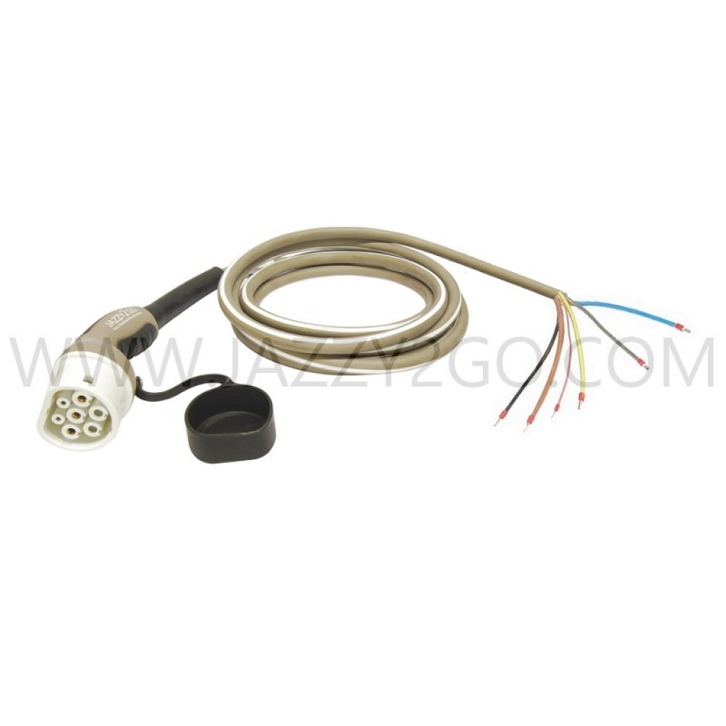 Charging Cable 1 Phase - 32A Car plug Type 2 /  permanent attachment mode 3